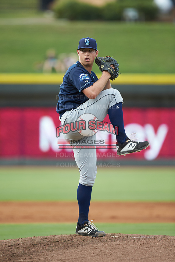 Wilmington Blue Rocks starting pitcher Kris Bubic (37) in action against the Winston-Salem Warthogs at BB&T Ballpark on July 17, 2019 in Winston-Salem, North Carolina. The Blue Rocks defeated the Warthogs 4-1. (Brian Westerholt/Four Seam Images)