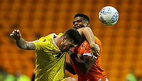 Blackpool's Michael Nottingham battles with Morecambe's Cole Stockton<br /> <br /> Photographer Alex Dodd/CameraSport<br /> <br /> EFL Leasing.com Trophy - Northern Section - Group G - Blackpool v Morecambe - Tuesday 3rd September 2019 - Bloomfield Road - Blackpool<br />  <br /> World Copyright © 2018 CameraSport. All rights reserved. 43 Linden Ave. Countesthorpe. Leicester. England. LE8 5PG - Tel: +44 (0) 116 277 4147 - admin@camerasport.com - www.camerasport.com
