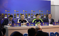 Wednesday 26 February 2014<br /> Pictured: Manager Garry Monk (2nd L) and Pablo Hernandez (3rd L) during the press conference<br /> Re: Swansea City FC press conference and training at San Paolo in Naples Italy for their UEFA Europa League game against Napoli.
