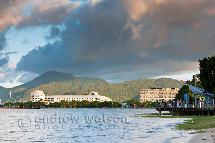 View along Esplanade to The Pier.  Cairns, Queensland, Australia