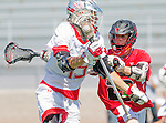 Palos Verdes, CA 03/26/16 - Beau Sabosky (Palos Verdes #15) and Max Colandreo (San Clemente #23) in action during the CIF Boys Lacrosse game between San Clemente Tritons and the Palos Verdes Seakings at Palos Verdes High School.  Palos Verdes defeated San Clemente 11-6