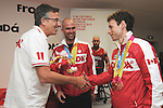 November 15 2011 - Guadalajara, Mexico:   CEO Henry Storgaard hands out gifts to the Medal Winners at the 2011 Parapan American Games in the Athlete's Village.  Photos: Matthew Murnaghan/Canadian Paralympic Committee