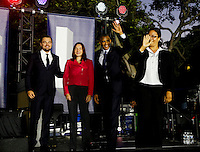United States President Barack Obama, Leonardo DiCaprio and Dr. Katharine Hayhoe arrive at for panel discussion  on climate change as part of the White House South by South Lawn (SXSL) event about the importance of protecting the one planet we&rsquo;ve got for future generations, on the South Lawn of the White House, Washington DC, October 3, 2016. <br /> Credit: Aude Guerrucci / Pool via CNP /MediaPunch