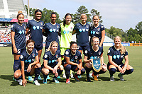 Cary, North Carolina  - Sunday May 21, 2017: NC Courage starters. Front row (from left): Yuri Kawamura, McCall Zerboni, Debinha, Samantha Mewis, Makenzy Doniak. Back row (from left): Jaelene Hinkle, Jessica McDonald, Rosana, Sabrina D'Angelo, Lynn Williams, and Abby Dahlkemper prior to a regular season National Women's Soccer League (NWSL) match between the North Carolina Courage and the Chicago Red Stars at Sahlen's Stadium at WakeMed Soccer Park. Chicago won the game 3-1.