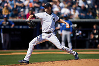New York Yankees pitcher J.A. Happ (33) during a Spring Training game against the Toronto Blue Jays on February 22, 2020 at the George M. Steinbrenner Field in Tampa, Florida.  (Mike Janes/Four Seam Images)