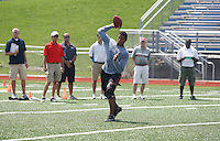 HEMPFIELD TOWNSHIP, PA - AUGUST 20:  Terrelle Pryor works out in front of NFL scouts during his pro day at a practice facility on August 20, 2011 in Hempfield Township, Pennsylvania.  (Photo by Jared Wickerham/Getty Images)