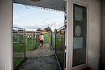 Harwich & Parkeston 2 Barnston 0, 11/11/2017. Royal Oak Ground, Andreas Carter Essex & Suffolk Border League Premier Division. Harwich & Parkeston reached the final of the Amateur Cup in 1953 at Wembley Stadium and played in front of a crowd of 100,000.  <br /> The Harwich & Parkeston goalkeeper makes his way back out for the second half. Photo by Simon Gill.