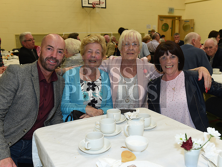 Anthony Geraghty, Pauline Coleman, Alice McGee and Teresa Murtagh at the after mass party in the Monastery National School Ardee for Canon Peter Murphy who was celebrating 40 years in the priesthood. Photo:Colin Bell/pressphotos.ie