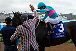 DEL MAR, CA  SEPTEMBER 1: Trainer John Shirreffs is all smiles and high fives as #3 Nolde, ridden by Victor Espinoza, wins the Del Mar Derby (Grade ll) on September 1, 2019 at Del Mar Thoroughbred Club in Del Mar, CA. ( Photo by Casey Phillips/Eclipse Sportswire/CSM)