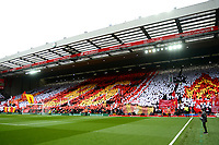 General View of a mosaic formed by Liverpool fans on the Kop honouring the victims of the Hillsborough disaster on its 30th Anniversary<br /> <br /> Photographer Richard Martin-Roberts/CameraSport<br /> <br /> The Premier League - Liverpool v Chelsea - Sunday 14th April 2019 - Anfield - Liverpool<br /> <br /> World Copyright © 2019 CameraSport. All rights reserved. 43 Linden Ave. Countesthorpe. Leicester. England. LE8 5PG - Tel: +44 (0) 116 277 4147 - admin@camerasport.com - www.camerasport.com