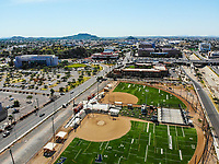 Synthetic grass fields, softball, big league dreams.<br /> campos de pasto sintetico, softboll,  big league dreams.<br /> <br /> Paisaje urbano, paisaje de la ciudad de Hermosillo, Sonora, Mexico.<br /> Urban landscape, landscape of the city of Hermosillo, Sonora, Mexico.<br /> (Photo: Luis Gutierrez /NortePhoto)