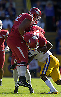 NWA Democrat-Gazette/BEN GOFF @NWABENGOFF<br /> Donnie Alexander (48), LSU linebacker, stops Jonathan Nance, Arkansas wide receiver, and lifts Johnny Gibson, Arkansas right guard as well, after a catch in the fourth quarter Saturday, Nov. 11, 2017 at Tiger Stadium in Baton Rouge, La.