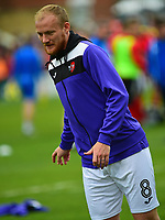 Exeter City's Robbie Simpson during the pre-match warm-up<br /> <br /> Photographer Andrew Vaughan/CameraSport<br /> <br /> The EFL Sky Bet League Two Play Off First Leg - Lincoln City v Exeter City - Saturday 12th May 2018 - Sincil Bank - Lincoln<br /> <br /> World Copyright &copy; 2018 CameraSport. All rights reserved. 43 Linden Ave. Countesthorpe. Leicester. England. LE8 5PG - Tel: +44 (0) 116 277 4147 - admin@camerasport.com - www.camerasport.com