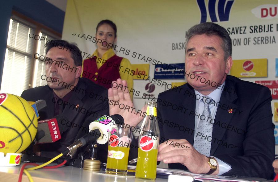 SPORT KOSARKA KSSCG REPREZENTACIJA Miodrag Babic (desno) i Predrag Bojic (levo) 26.04.2004. foto: Pedja Milosavljevic<br />