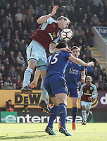 Burnley's Chris Wood battles with Leicester City's Harry Maguire<br /> <br /> Photographer Rich Linley/CameraSport<br /> <br /> The Premier League - Burnley v Leicester City - Saturday 14th April 2018 - Turf Moor - Burnley<br /> <br /> World Copyright &copy; 2018 CameraSport. All rights reserved. 43 Linden Ave. Countesthorpe. Leicester. England. LE8 5PG - Tel: +44 (0) 116 277 4147 - admin@camerasport.com - www.camerasport.com