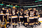 09 APR 2011: Members of the University of Minnesota Duluth Bulldogs celebrate after Kyle Schmidt's goal 3:22 into overtime during the Division I Men's Ice Hockey Championship held at the Xcel Energy Center in St. Paul, MN. Minnesota-Duluth beat Michigan in overtime, 3-2 to claim the national title. Vince Muzik/ NCAA Photos