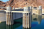 Intake towers of Hoover Dam on the Colorado River on the border of Arizona and Nevada.