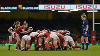 Keira Bevan of Wales prepares to place the ball into the scrum <br /> <br /> Photographer Ian Cook/CameraSport<br /> <br /> 2019 Autumn Internationals - Wales Women v Barbarians Women - Saturday 30th November 2019 - Principality Stadium - Cardifff<br /> <br /> World Copyright © 2019 CameraSport. All rights reserved. 43 Linden Ave. Countesthorpe. Leicester. England. LE8 5PG - Tel: +44 (0) 116 277 4147 - admin@camerasport.com - www.camerasport.com
