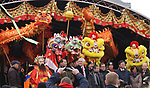 Liverpool Chinatown celebrated Chinese New Year of the Rooster in style on Sunday 29th January with colourful lion,dragon, and unicorn displays. Local dignitaries  on stage with a dragon,lions and unicorns.