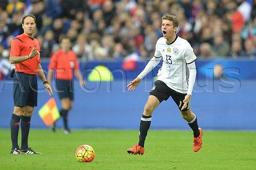 13.11.2015. Stade de France, Paris, France. International football friendly. France versus Germany.  THOMAS MULLER - COLERE . The game was parially interupted as the paris terror attacks took place and bombs were heard going off outside the stadium.
