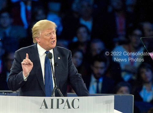 Businessman Donald J. Trump, a candidate for the Republican Party nomination for President of the United States, speaks at the 2016 AIPAC Policy Conference at the Verizon Center in Washington, DC on Monday March 21, 2016.<br /> Credit: Ron Sachs / CNP<br /> (RESTRICTION: NO New York or New Jersey Newspapers or newspapers within a 75 mile radius of New York City)