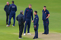 Umpires and Essex players assess the prospects of play during Yorkshire CCC vs Essex CCC, Specsavers County Championship Division 1 Cricket at Emerald Headingley Cricket Ground on 16th April 2018