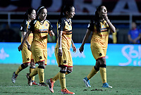 CALI - COLOMBIA, 24-09-2019: Geraldine Cardona del Medellín luce decepcionado después del partido por la final ida de la Liga Femenina Aguila 2019 entre América Cali y Medellin Petrolera jugado en el estadio Pascual Guerrero de la ciudad de Cali. / Geraldine Cardona of Medellin looks disappointed after first leg final match as part of Aguila Women League 2019 between America de Cali and Independiente Medellin played at Pascual Guerrero stadium in Cali. Photo: VizzorImage / Gabriel Aponte / Staff