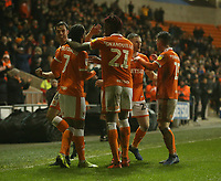 Blackpool's Nathan Delfouneso (#7) celebrates scoring his side's second goal <br /> <br /> Photographer Stephen White/CameraSport<br /> <br /> The EFL Sky Bet League One - Blackpool v Charlton Athletic - Saturday 8th December 2018 - Bloomfield Road - Blackpool<br /> <br /> World Copyright &copy; 2018 CameraSport. All rights reserved. 43 Linden Ave. Countesthorpe. Leicester. England. LE8 5PG - Tel: +44 (0) 116 277 4147 - admin@camerasport.com - www.camerasport.com