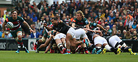 Newcastle Falcons' Sonatane Takulua releases the ball from a scrum <br /> <br /> Photographer Stephen White/CameraSport<br /> <br /> Gallagher Premiership Round 2 - Leicester Tigers v Newcastle Falcons - Saturday September 8th 2018 - Welford Road - Leicester<br /> <br /> World Copyright &copy; 2018 CameraSport. All rights reserved. 43 Linden Ave. Countesthorpe. Leicester. England. LE8 5PG - Tel: +44 (0) 116 277 4147 - admin@camerasport.com - www.camerasport.com