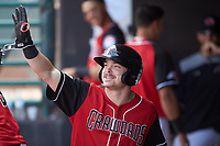 Matt Whatley (19) of the Hickory Crawdads celebrates in the dugout after hitting a home run against the Lakewood BlueClaws at L.P. Frans Stadium on April 28, 2019 in Hickory, North Carolina. The Crawdads defeated the BlueClaws 10-3. (Brian Westerholt/Four Seam Images)