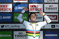 Picture by Richard Blaxall/SWpix.com - 27/09/2018 - Cycling 2018 Road Cycling World Championships Innsbruck-Tiriol, Austria - Men's Junior Road Race - Remco Evenepoel of Belgium celebrates in the Rainbow Jersey.
