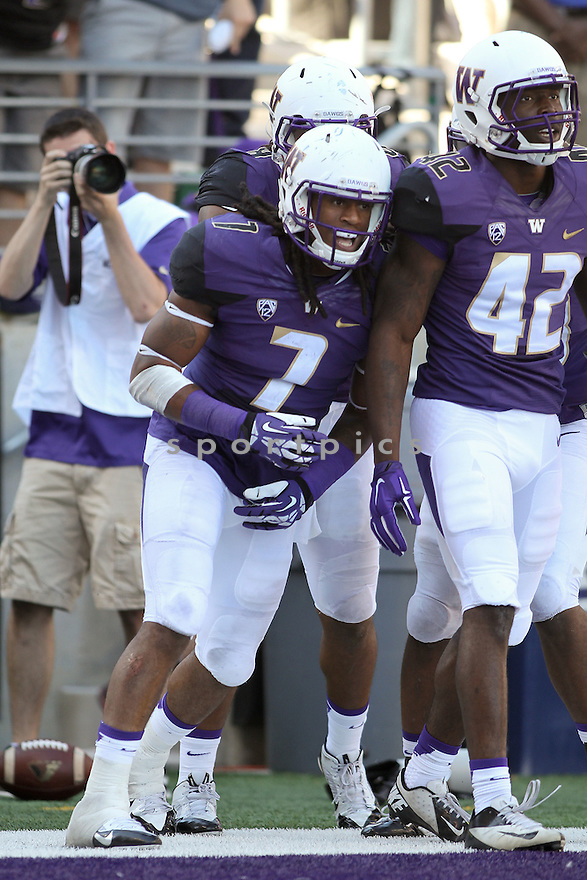 Washington Huskies Jaydon Thompson (7) during a game against the Illinois Fighting Illini during a game against the Washington Huskies on September 13, 2014 at Husky Stadium in Seattle, WA. Washington beat Illinois 44-19.