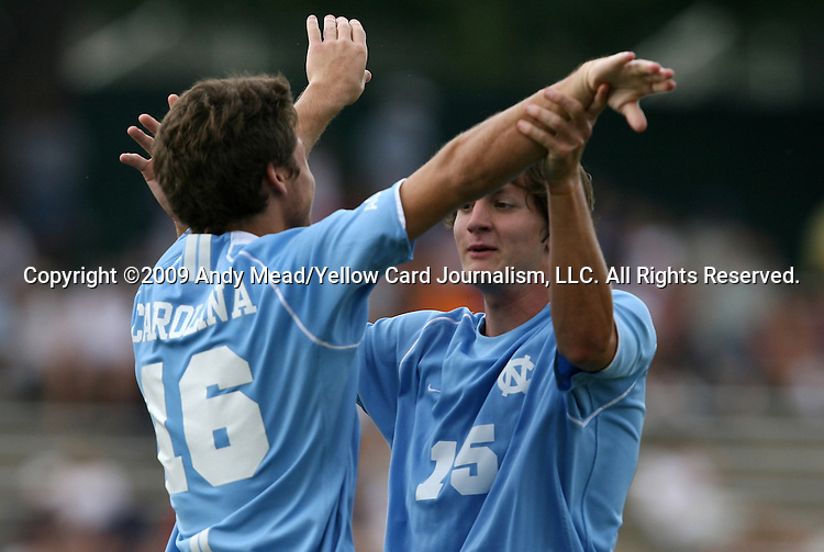 06 September 2009: UNC's Enzo Martinez (16) celebrates his goal with UNC's Cameron Brown (15). The University of North Carolina Tar Heels defeated the Evansville University Purple Aces 4-0 at Fetzer Field in Chapel Hill, North Carolina in an NCAA Division I Men's college soccer game.