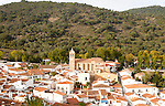 Church and houses in village of Almonaster La Real, Sierra de Aracena, Huelva province, Spain