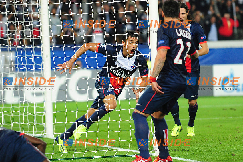 Marquinhos Esultanza Gol <br /> Parigi 2/10/2013 <br /> Football 2013/2014 Champions League<br /> Paris Saint Germain Benfica <br /> JB Autissier Panoramic / Insidefoto <br /> ITALY ONLY