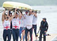 Caversham, Nr Reading, Berkshire. GBR M8+. Paul BENNETT Tries to avoid the water taken on board during the outing,<br /> GBRowing Media Day.<br /> <br /> Wednesday  11.05.2016<br /> <br /> [Mandatory Credit: Peter SPURRIER/Intersport Images]