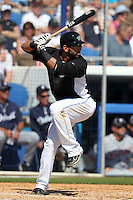 Toronto Blue Jays Jose Bautista #19 during a Spring Training game vs the Detroit Tigers at Florida Auto Exchange Stadium in Dunedin, Florida;  February 26, 2011.  Detroit defeated Toronto 4-0.  Photo By Mike Janes/Four Seam Images