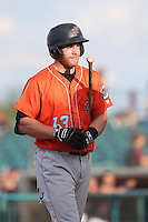 Cal Towey #13 of the Inland Empire 66ers bats during a playoff game against the Lancaster JetHawks at The Hanger on September 7, 2014 in Lancaster, California. Lancaster defeated Inland Empire, 5-2. (Larry Goren/Four Seam Images)