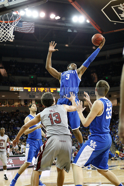UK forward Terrence Jones grabs a rebound during the second half of the University of Kentucky Men's basketball game against University of South Carolina on 2/4/12 in Columbia, SC. Photo by Quianna Lige | Staff