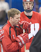 Mike Eaves - The University of Wisconsin Badgers practiced on Friday, April 7, 2006, at the Bradley Center in Milwaukee, Wisconsin.  The following evening the Badgers defeated Boston College 2-1 to win the Title.
