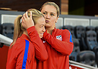 San Jose, CA - Sunday November 12, 2017: Emily Sonnett, Lindsey Horan during an International friendly match between the Women's National teams of the United States (USA) and Canada (CAN) at Avaya Stadium.