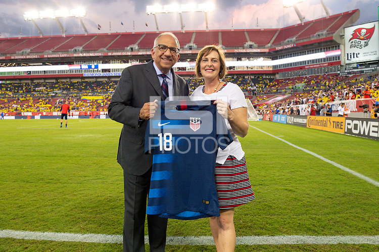 Tampa, FL - Thursday, October 11, 2018:  Carlos Cordeiro, U.S. Congresswoman Kathy Castor during a USMNT match against Colombia.  Colombia defeated the USMNT 4-2.