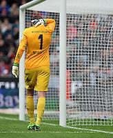 FUSSBALL   1. BUNDESLIGA   SAISON 2012/2013    31. SPIELTAG Bayer 04 Leverkusen - SV Werder Bremen                  27.04.2013 Sebastian Mielitz (SV Werder Bremen) ist enttaescht