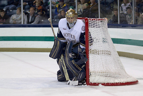 Notre Dame goaltender Steven Summerhays (#1) in first period action during NCAA hockey game between Notre Dame and Northeastern.  The Northeastern Huskies defeated the Notre Dame Fighting Irish 9-2 in game at the Compton Family Ice Arena in South Bend, Indiana.