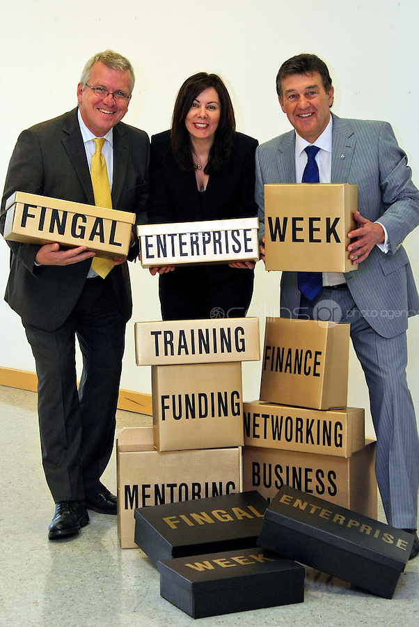 23/08/'10 Apprentice Star and entrepreneur Bill Cullen and Nicola Byrne, Founder of 11890 pictured with Oisin Geoghegan, CEO, Fingal Enterprise Board and Chief organiser of Fingal Enterprise Week at the Europa, Academy, Swords this morning for the launch of Enterprise Week in Fingal which takes place next month. The event is a series of free enterprise events over 5 days in September, where Irish serial enrtapreneurs, including Bill Cullen, Sean Gallagher and Nicola Byrne will host free seminars, workshops and clinics throughout the region in a bid to help businesses and boost  job creation.  The full schedule of events is available from www.fingalenterpriseweek.ie.  Pictutre Colin Keegan, Collins, Dublin.