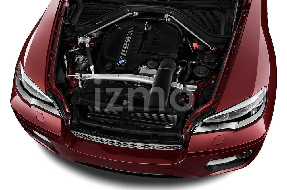High angle engine detail of a  .2013 BMW X6 X Drive 35i
