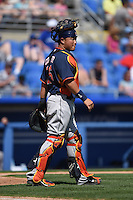 Houston Astros catcher Hank Conger (16) during a Spring Training game against the Toronto Blue Jays on March 9, 2015 at Florida Auto Exchange Stadium in Dunedin, Florida.  Houston defeated Toronto 1-0.  (Mike Janes/Four Seam Images)