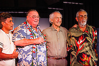 "HONOLULU, Turtle Bay Resort, North Shore, Oahu. - (Thursday, January 3, 2013) Reno Abellira (HAW), Greg Noll (USA) Peter Cole (USA) and  Kimo Hollinger (HAW).  Greg Noll (USA) was the guest  speaker of Talk Story at Surfer The Bar tonight. Noll, nicknamed ""Da Bull"" by Phil Edwards in reference to his physique and way of ""charging"" down the face of a wave is an American pioneer of big wave surfing and is also acknowledged as a prominent longboard shaper. Noll was a member of a US lifeguard team that introduced Malibu boards to Australia around the time of the Melbourne Olympic Games. Noll became known for his exploits in large Hawaiian surf on the North Shore of Oahu. He first gained a reputation in November 1957 after surfing Waimea Bay in 25-30 ft surf when it had previously been thought impossible even to the local Hawaiians. He is perhaps best known for being the first surfer to ride a wave breaking on the outside reef at the so-called Banzai Pipeline in November 1964...It was later at Makaha, in December 1969, that he rode what many at the time believed to be the largest wave ever surfed. After that wave and the ensuing wipeout during the course of that spectacular ride down the face of a massive dark wall of water, his surfing tapered off and he closed his Hermosa Beach shop in the early 1970s. He and other surfers such as Pat Curren, Mike Stang, Buzzy Trent, George Downing, Mickey Munoz, Wally Froyseth, Fred Van Dyke and Peter Cole are viewed as the most daring surfers of their generation...Noll is readily identified in film footage while surfing by his now iconic black and white horizontally striped ""jailhouse"" boardshorts and was interviewed by host Jodi Wilmott (AUS). . Photo: joliphotos.com"