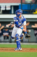 Chase Vallot (8) of the Burlington Royals makes a throw to third base against the Elizabethton Twins at Burlington Athletic Park on June 25, 2014 in Burlington, North Carolina.  The Twins defeated the Royals 8-0. (Brian Westerholt/Four Seam Images)