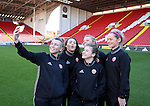Sheffield United Ladies Jennifer Pearson (Left) takes a selfie photo on the pitch before kick off during the FA Women's Cup First Round match at Bramall Lane Stadium, Sheffield. Picture date: December 4th, 2016. Pic Clint Hughes/Sportimage